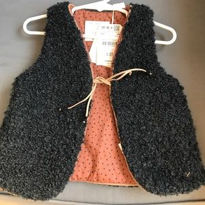 NEW Zara girls charcoal and rust vest size 2-3